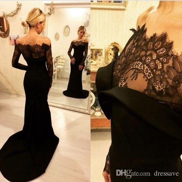 Sexy Off The Shoulder Long Sleeve Evening Dresses Sexy Mermaid Black Lace Formal Prom Dresses Evening Dress 2019 Robe De Soiree