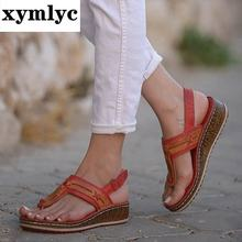 2020 Women Sandals Summer Retro Sandals Soft Bottom Wedges Shoes for Woman Sandals Beach Chaussures Femme Women Shoes Plus Size(China)