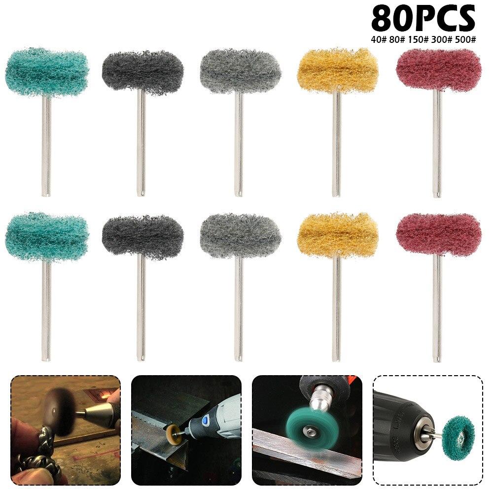 80pcs Mini Brush Scouring Pad Abrasive Wheel Nylon Fiber Grinding Sanding Head Buffing Polishing Wheel 1