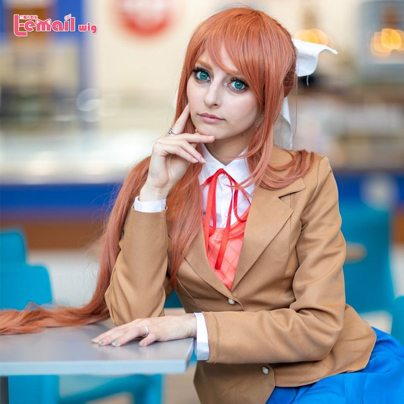 L-email Wig Doki Doki Literature Club Monika Cosplay Wigs DDLC Long Pink Ponytail Cosplay Wig Heat Resistant Synthetic Hair