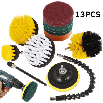 13pcs/set Electric Drill Brush Scrub Pads Kit Power Scrubber Cleaning Kit Cleaning Brush Scouring Pad for Carpet Glass Car Clean недорого