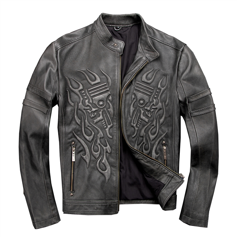 2020 Vintage gris hommes crâne moto veste en cuir grande taille XXXL véritable peau de vache automne coupe ajustée Biker en cuir manteau