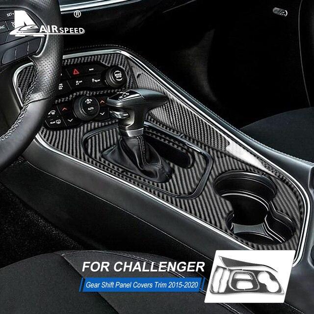 AIRSPEED włókna węglowego dla Dodge Challenger 2015 2016 2017 2018 2019 2020 akcesoria wnętrza samochodu Panel zmiany biegów naklejka na pokrywę