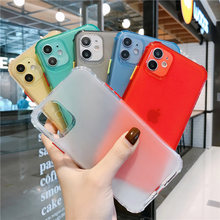 Shockproof Candy Color Case For iPhone 11 Pro MAX Soft Clear Silicone Cases For iPhone XS MAX XR X 7 8 6S 6 Plus SE 2 2020 Cover(China)