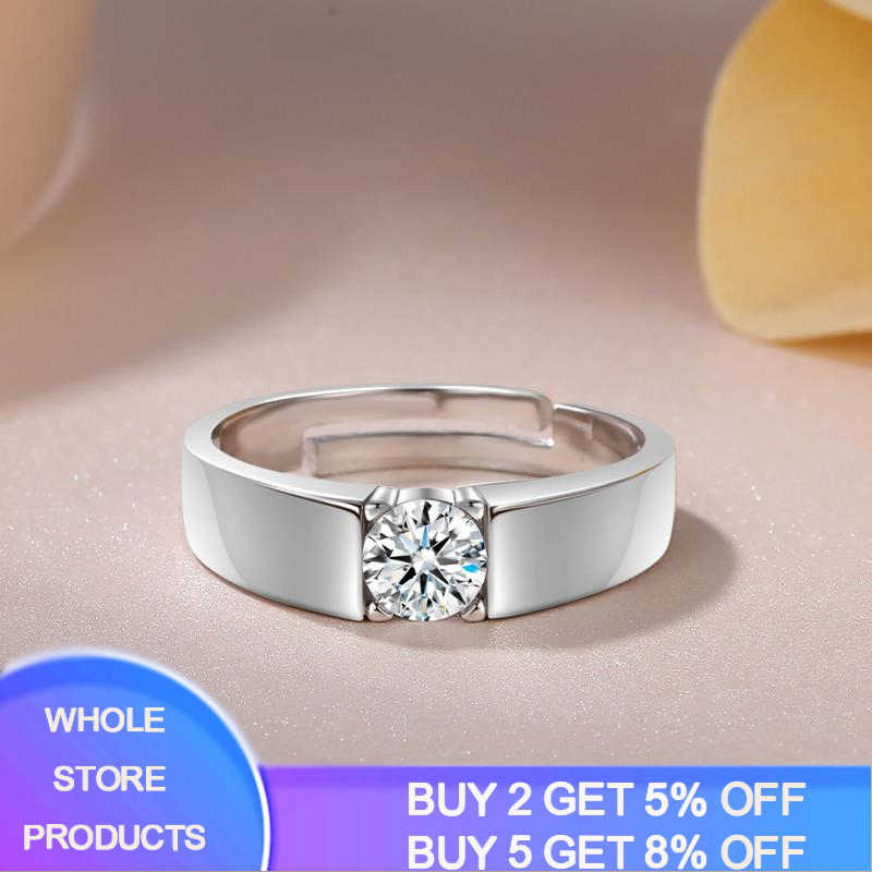 YANHUI หรูหราผู้ชาย Solid 925 เงินปรับขนาดได้แหวน 5mm 0.75ct Diamant แหวนเปิดสามารถปรับขนาด MJZ043