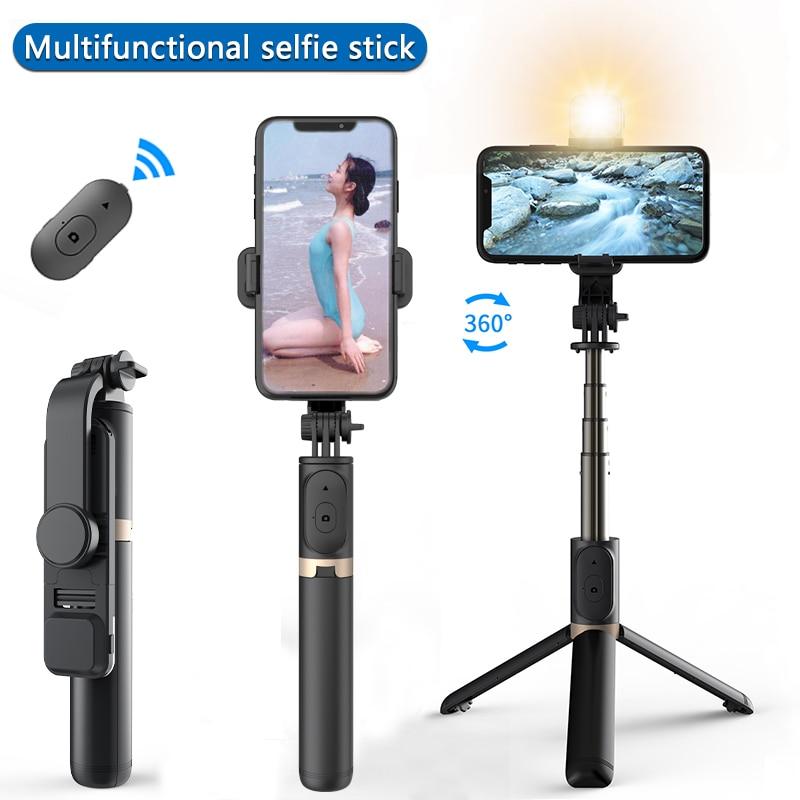COOL DIER Aluminum alloy wireless bluetooth selfie stick expandable mini tripod foldable handheld monopod with LED fill light