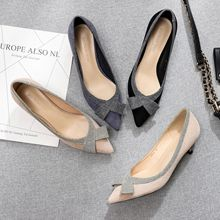 New Spring High Heels Women Pumps Flock Leather Thin High Heel Wedding Shoes Pointed Toe Office Lady Shoes  G0005 2019 new spring autumn women pumps high thin heel metal pointed toe sexy ladies bridal wedding women shoes white high heels