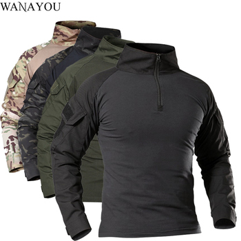 Men's Outdoor Tactical Hiking T-Shirts,Military Army Camouflage Long Sleeve Hunting Climbing Shirt,Male Breathable Sport Clothes 1