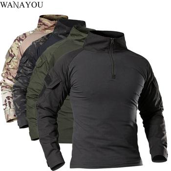 Męskie outdoorowe taktyczne koszulki turystyczne wojskowy kamuflaż wojskowy z długim rękawem polowanie wspinaczka koszula męskie oddychające ubrania sportowe tanie i dobre opinie WANAYOU CN (pochodzenie) COTTON Stałe Drytec Tees Pełna Camping i piesze wycieczki Pasuje prawda na wymiar weź swój normalny rozmiar