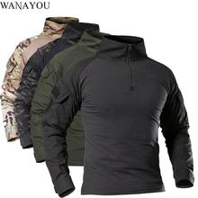 Męskie outdoorowe taktyczne koszulki turystyczne wojskowy kamuflaż wojskowy z długim rękawem polowanie wspinaczka koszula męskie oddychające ubrania sportowe tanie tanio WANAYOU CN (pochodzenie) COTTON Stałe Drytec Tees Pełna Camping i piesze wycieczki Pasuje prawda na wymiar weź swój normalny rozmiar