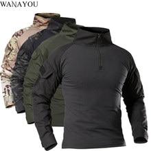 T-shirt da trekking tattiche da esterno per uomo, camicia da arrampicata da caccia a manica lunga mimetica militare, abbigliamento sportivo traspirante da uomo