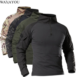 Men's Outdoor Tactical Hiking T-Shirts,Military Army Camouflage Long Sleeve Hunting Climbing Shirt,Male Breathable Sport Clothes
