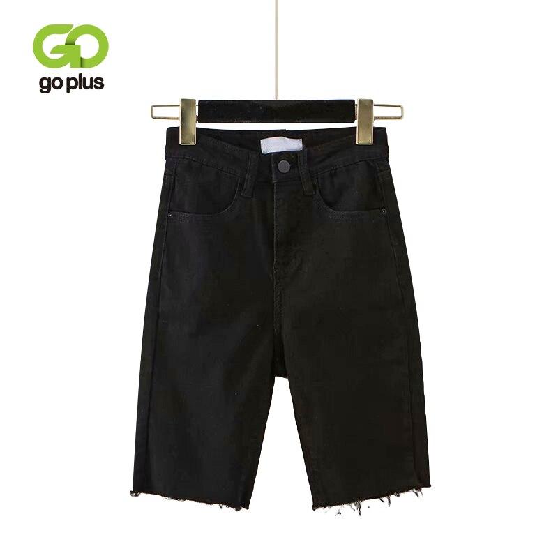 GOPLUS High Waist Jeans Plus Size Knee Length Skinny Denim Summer Mom Women's Tassel Black Jeans 2020 Short Fringe Jeans C8965