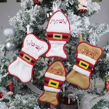 Calcetín creativo de Navidad para perros y gatos, soporte para bolsa de regalo, colgante para árbol de Navidad, bolsa de regalo de Navidad, suministros festivos #25