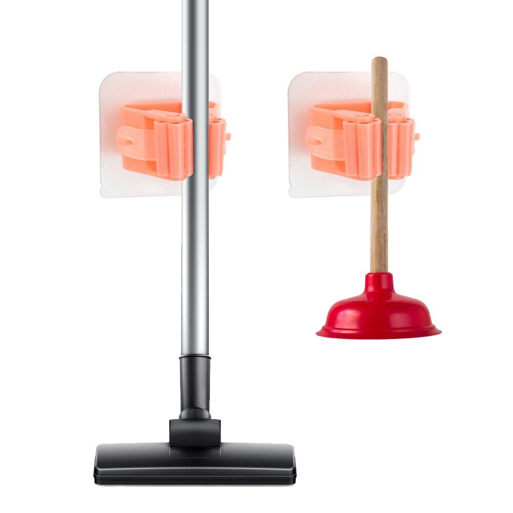 1Pcs Mop Holder Punch-free Strong Load-bearing Mop Holder Bathroom Broom Card Holder Storage Wall Hook Universal Hook