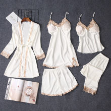 Women Pajamas Sleepwear Robes Lingerie Nightgown Silk Babydolls 5pcs/Set for Like