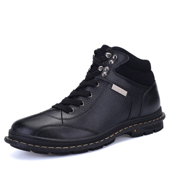 2019 Men's Casual Shoes Black Leather Lace-up Autumn Winter Casual Hiking Shoes for Men Boys Sneakers Big Size Flats %H9903