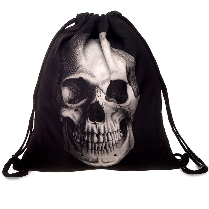 Unique Style Small 3D Printing Skeleton Backpack UnisexTravel Softback Men Mochila Drawstring Bag School Girls Backpacks