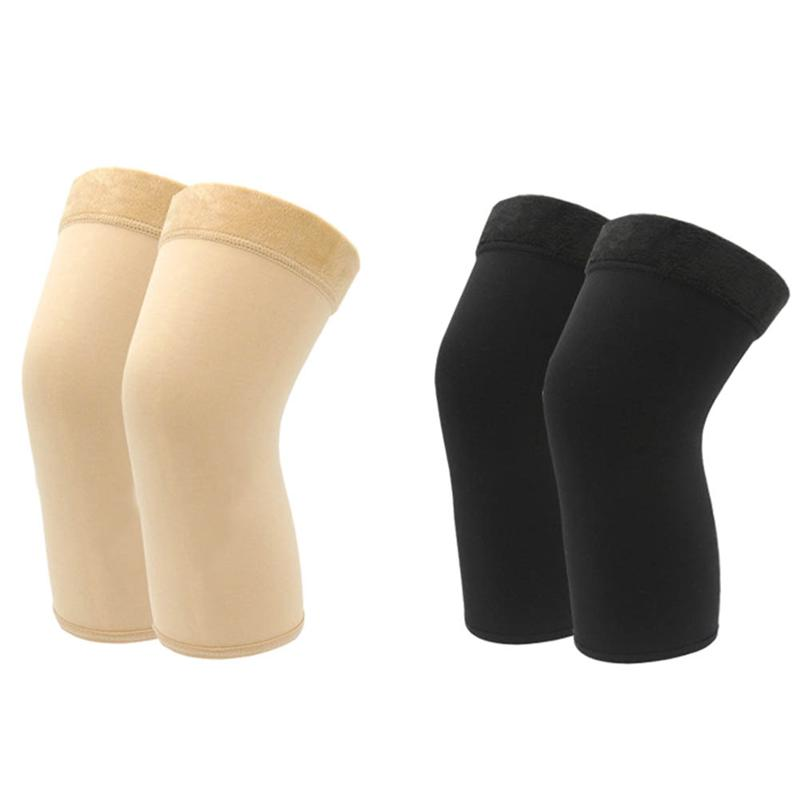2 Pairs Winter And Fall Knee Protector Hogh Elastic Kneecap Warm Knee Pads For Women (Black + Skin Color)