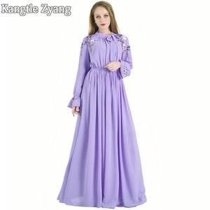 Женское вечернее платье-Кафтан размера плюс, фиолетовое платье в турецком арабском стиле, абайя, мусульманское платье, кафтан, платья Хиджа...