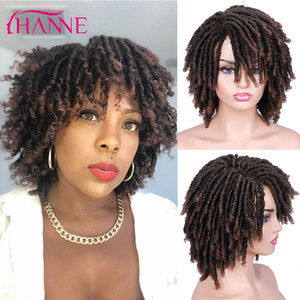 HANNE Short Dreadlock Black/brown/red/blond Synthetic soft faux locs Wigs Braiding Crochet Twist Hair Wigs For Black Women/Men