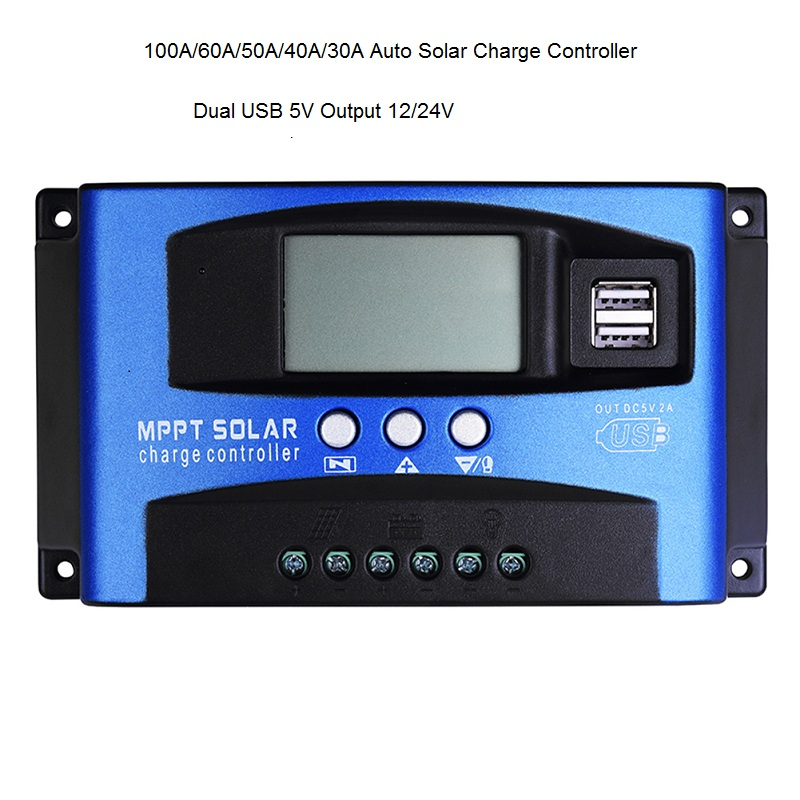 100A/60A/50A/40A/30A Auto Solar Charge Controller MPPT With Dual USB 5V Output 12/24V Solar Panel Battery Regulator Charge