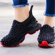 2020 Spring Women Sneakers Flat Slip on Platform Sneakers for Woman Black Rivet