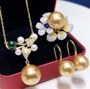 Image 1 - D304 Pearl Sets 925 Sterling Silver 9 12mm Natural Fresh Water Golden Pearls Females Jewelry Sets for Women FIne Jewelry Sets
