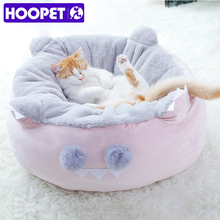 HOOPET Haustier Katze Weiche Bett Für Kleine Hund Betten Katzen Sofa Winter Warme Matten Haus für Katze Nest Pet Tiefe schlafen Bett Runde Kissen