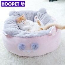 HOOPET kot domowy miękkie łóżko dla małych psów łóżka koty Sofa zimowe ciepłe maty dom dla kota gniazdo Pet głębokie łóżko okrągła poduszka