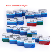 100pcs/20Box Dental Diamond Burs Drill Dental Burs Dia burs for High Speed Handpiecess Medium FG 1.6M Dentist