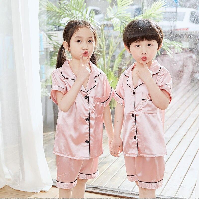 Rayon Pajamas Set Children Summer Pyjama Long Shirt Pants 2Piece/Set Kid Cute Homewear