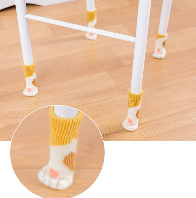4pcs Chair Leg Socks Home Furniture Leg Floor Protectors Non-slip Table Legs Sleeve Cat Claw Chair Cover Knitting Socks