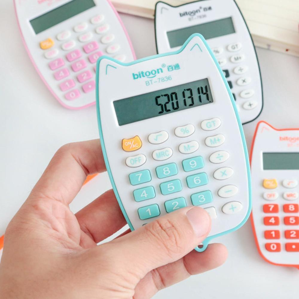 Portable Calculator Cute Cat Handheld Calculator For Students, Battery Power Electronic Calculator With 12-digit LED Display