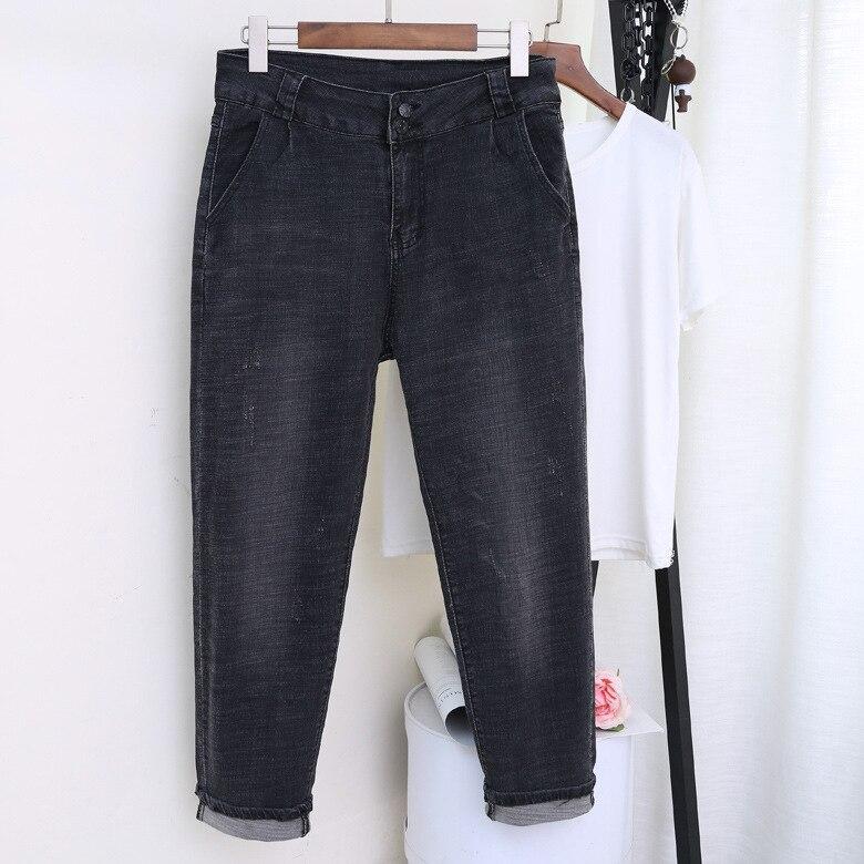 Ripped Jeans For Women  High Waist  Plus Size  Loose Softener Ankle-length Femme  Denim Harem Pants