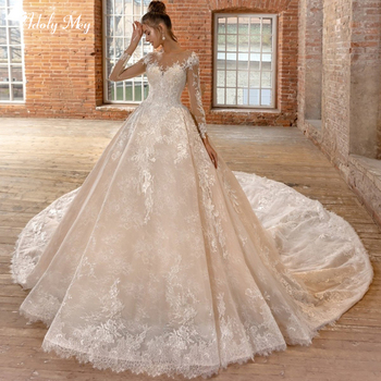 Adoly Mey Gorgeous Appliques Chapel Train Lace A-Line Wedding Dress 2020 Luxury Scoop Neck Beaded Long Sleeve Vintage Bride Gown