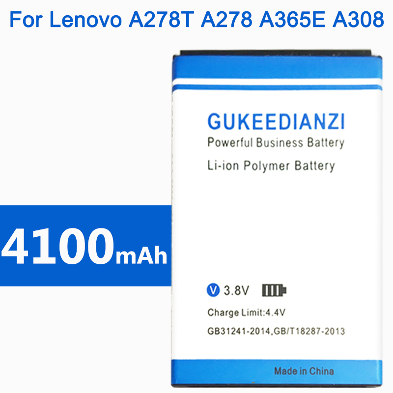 GUKEEDIANZI Phone Battery For Lenovo A278T A278 A365E A308T A369 A66 A318T A385E A309 4100mAh BL203 High Quality Batteries image