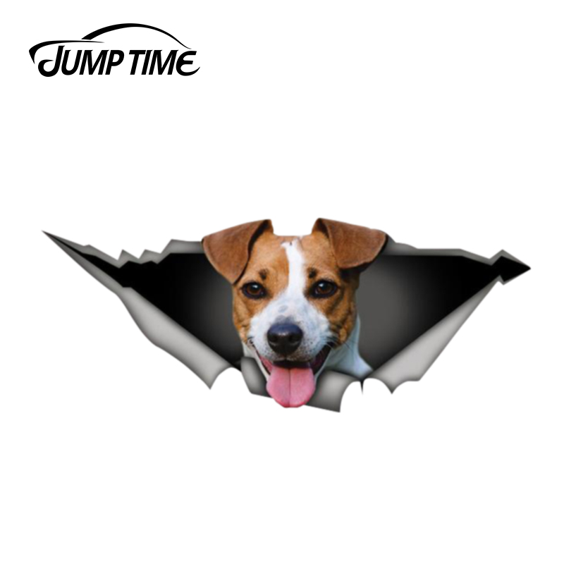 Jump Time 13cm X 4.8cm Jack Russell Terrier Car Sticker 3D Pet Graphic Vinyl Decal Car Window Laptop Bumper Animal Car Stickers
