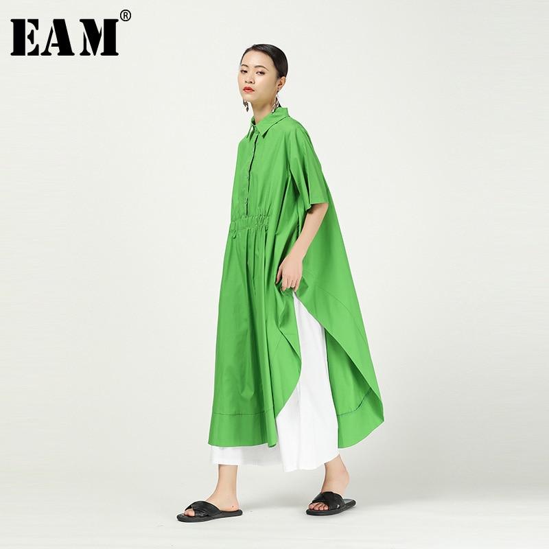 [EAM] Women Asymmetrical Green Big Size Blouse New Lapel Long Sleeve Loose Fit Shirt Fashion Tide Spring Autumn 2020 1T642