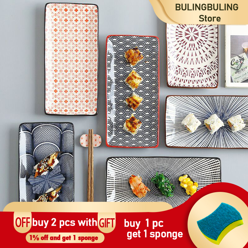 Crockery Party Dinner Dishes Tableware Set Japanese Sushi Plate Creative Underglaze Rectangular Dish Household Cold Plates 1 PC 1