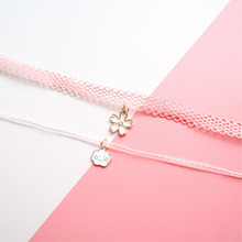 Fashion Jewelry Choker Cute Necklace Pink Blossom-Pendant-Collar Spring Cherry Girl Cloud