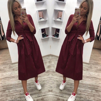 Women Casual Sashes a Line Party Dress Ladies Button Turn Down Collar OL Style Shirt Dress 2019 Summer Solid Knee Dress 2
