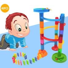 DIY бегущий мяч трек домино набор с 20шт блок домино обучающие игры игрушки интеллектуальное развитие подарок для девочки, мальчики, дети