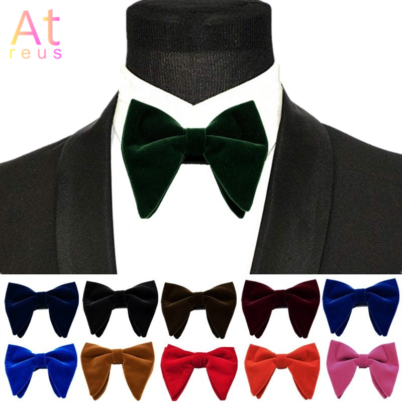 Winter Planted Velvet Bowties For Women Mens Groom Wedding Bow Tie Solid Color Horn Bow Ties Bowknot Formal Wear Accessories