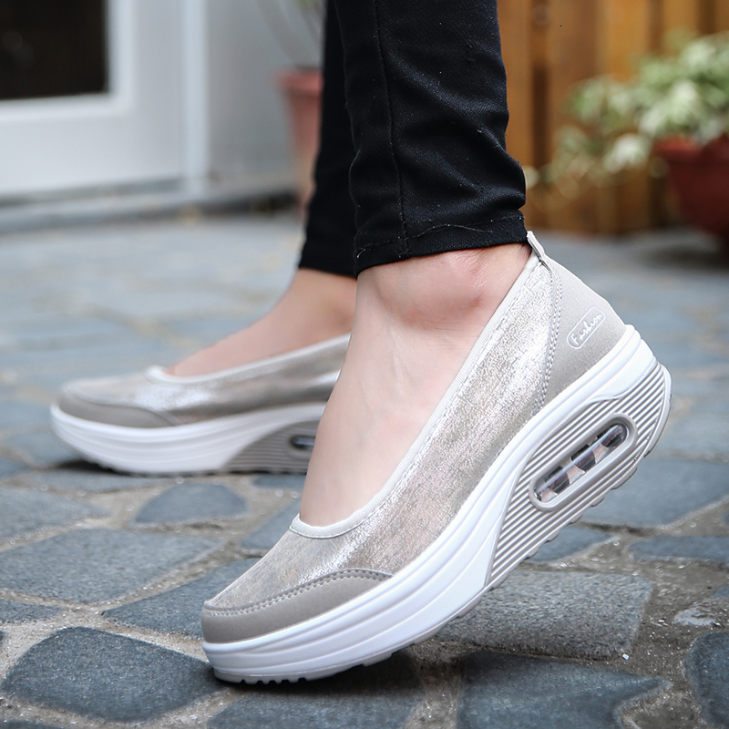Autumn Air Sole Wedge Platform Shoes Women Slimming Toning Shoes Slip On Canvas Sneakers Outdoor Gym Shoes Casual Fitness Shoes