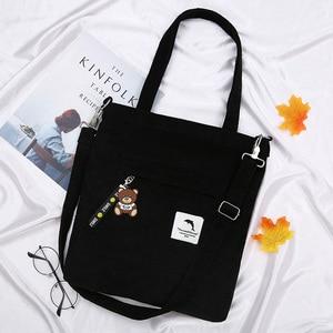 Image 1 - 2020 bolsa feminina de veludo com zíper de ombro bolsa de lona de algodão bolsa casual tote feminino crossbody saco das senhoras do vintage
