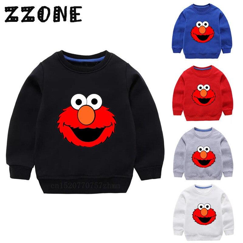 Children's Hoodies Kids The Sesame Street Elmo Catoon Sweatshirts Baby Cotton Pullover Tops Girls Boys Autumn Clothes,KYT2413