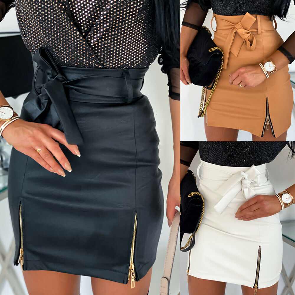 Office Lady Women Sexy PU Leather Pencil Bodycon Belted Bow Knot Tied Zipper Slit Split High Waist Mini Short Skirt