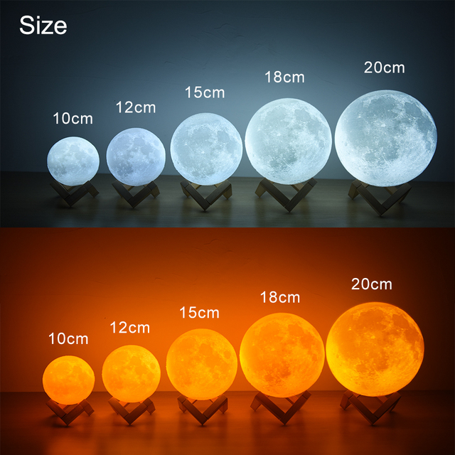 Rambery moon lamp 3D print night light Rechargeable  3 Color Tap Control lamp lights 16 Colors Change Remote LED moon light gift 4
