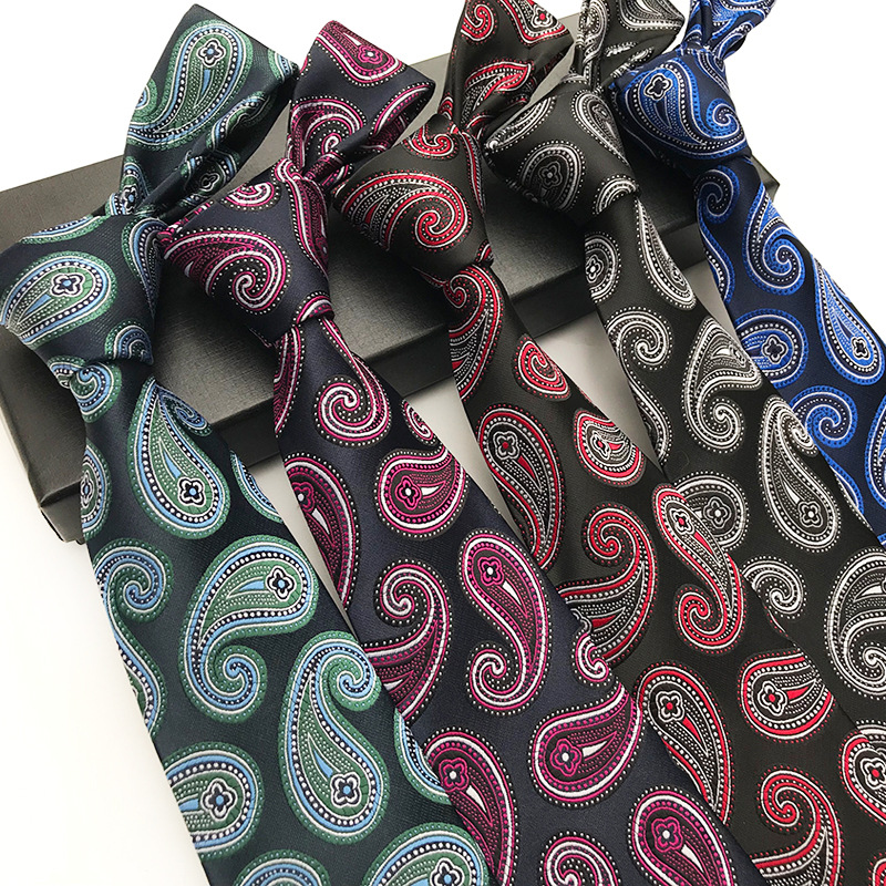 New Classic Paisley Black Blue Rose JACQUARD WOVEN 100/% Silk Men/'s Tie Necktie